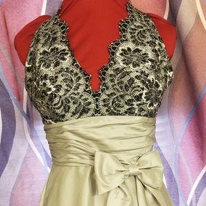 JS Boutique grey or silver/blue halter dress S